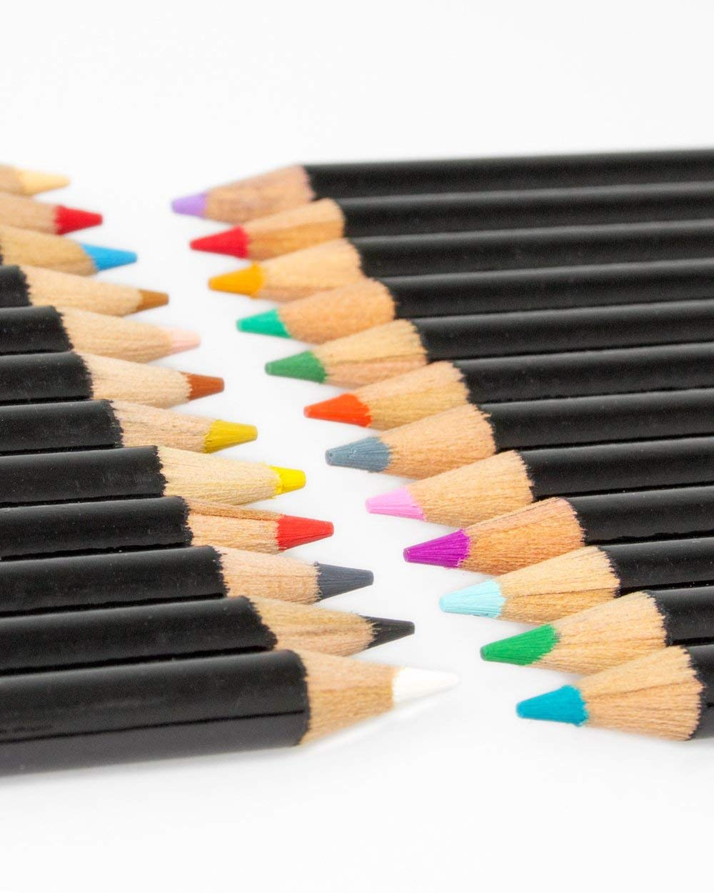 Includes Premium Colored Pencils ColorIt Colored Pencil Set of 24 Travel Case and Pencil Sharpener Perfect Coloring Pencils For Adult Coloring Books with bright colors