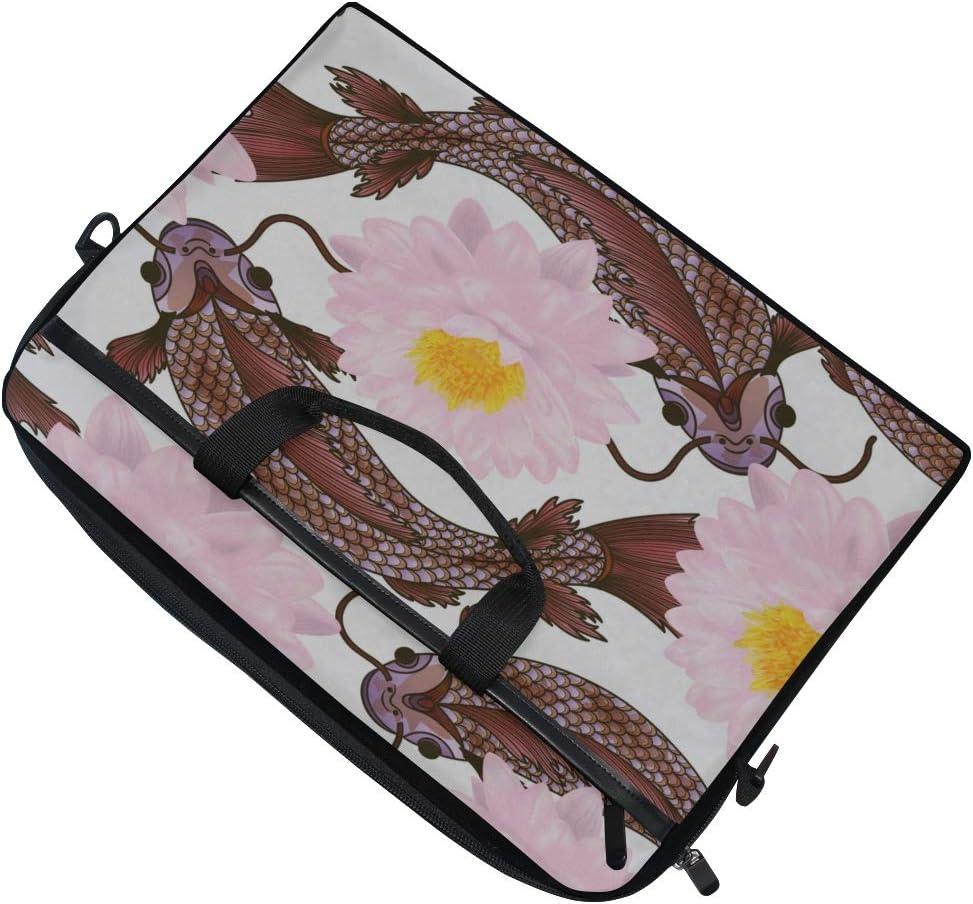 College Students Business People Offi Laptop Bag Pattern Flowers Lotus Fish 15-15.4 Inch Laptop Case Briefcase Messenger Shoulder Bag for Men Women