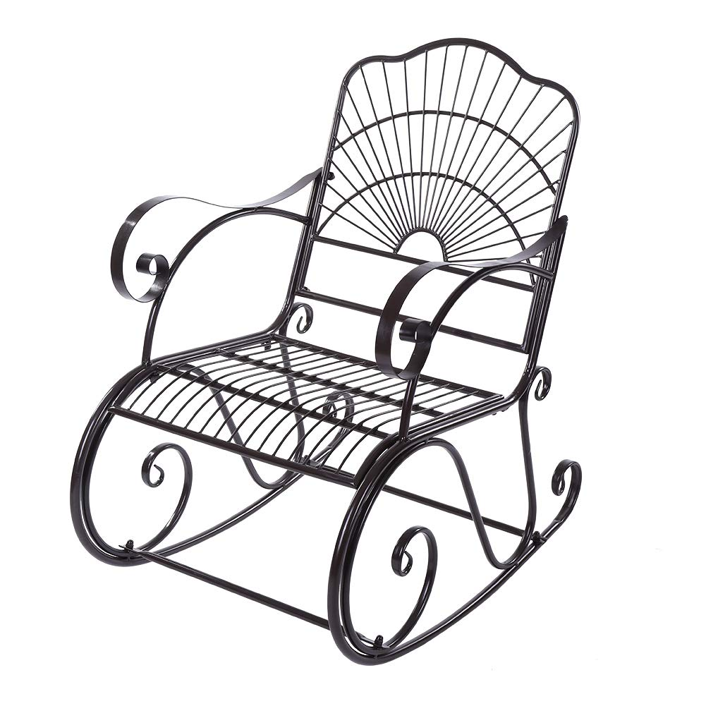 Outdoor Rocking Chair, Metal Rocking Chair Seat Single Chair for Patio, Porch, Deck, Outdoor by Cocoarm