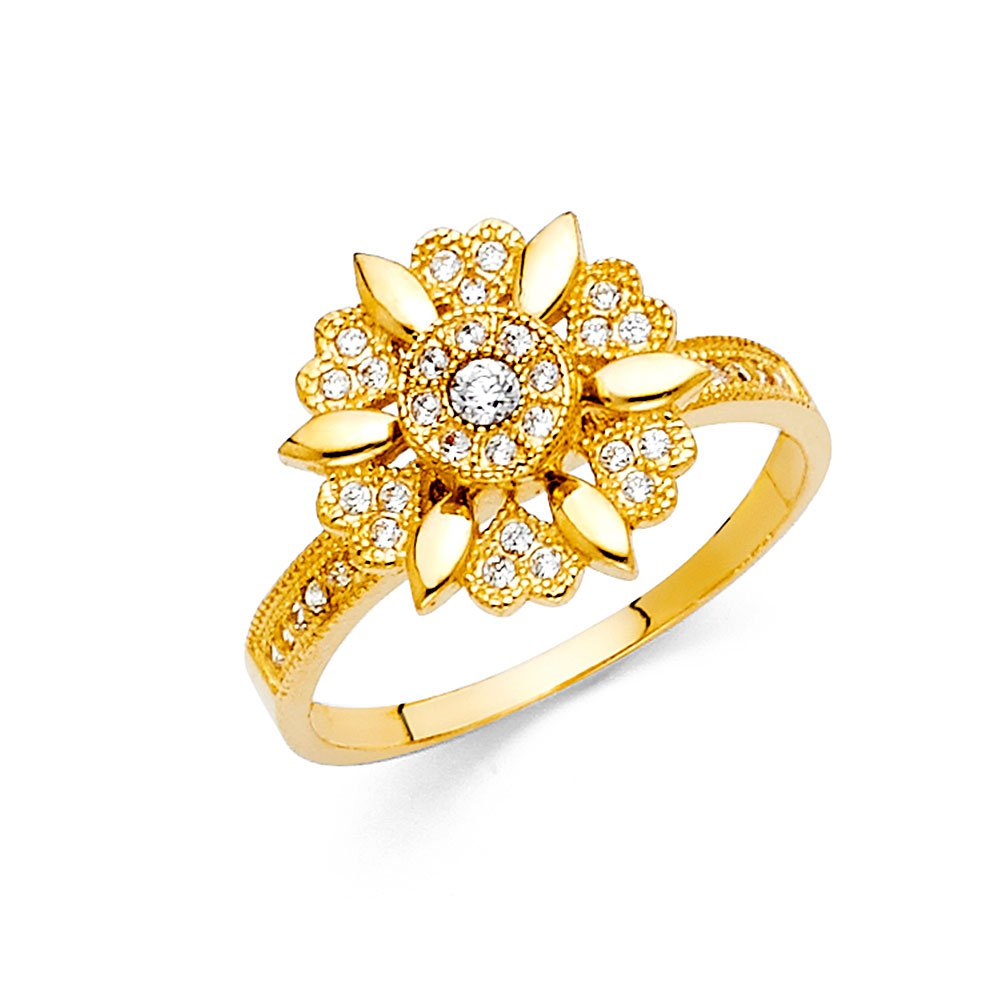 Flower Ring 14k Yellow Gold CZ Floral Band Vintage Style Beaded Edge Diamond Cut Fancy Size 7