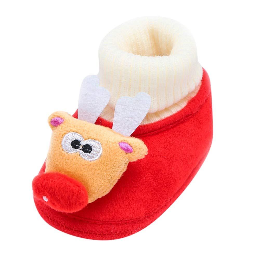 ✿luoluoluo ✿ Chaussons Bébé Nouveau-né Tout-Petit Bébé Cerf De Noël Dessin Animé Botte Semelle Chaude Chaussures Casual Bébé Fille Chaussures Bébé Garçon Bottillons Bé