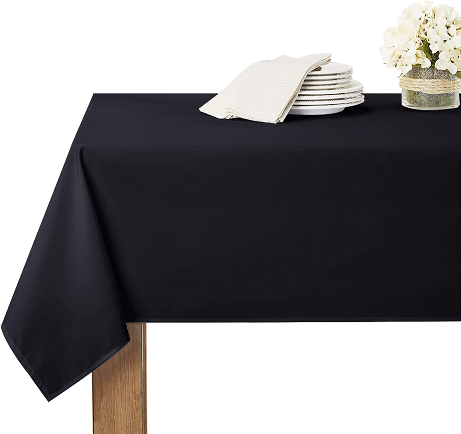 RYB HOME Table Cloth Spill-Proof - Rectangle Tablecloth Elegant Decor Washable Fabric Tabletop Cover for Dining Ceremony Venue Buffet Indoor Outdoor Use, 60 x 90, Black