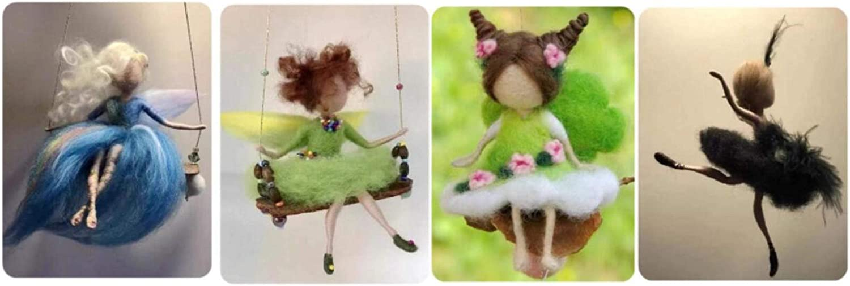 ZHONGJIUYUAN 5 different fairy Felt Animals Needle Felting Craft Kit