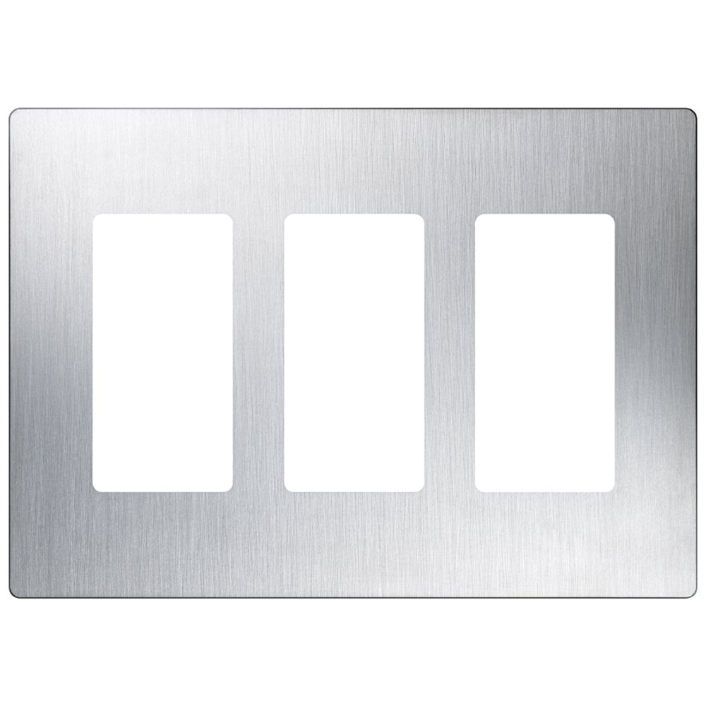 Lutron CW-3-SS 3-Gang ClaroWall Plate, Stainless Steel