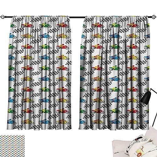 Warm Family Motorcycle Exclusive Home CurtainsSports Bike with Racing Riders Among Black and White Chequered Flags Competition for Living, Dining, Bedroom (Pair) 55