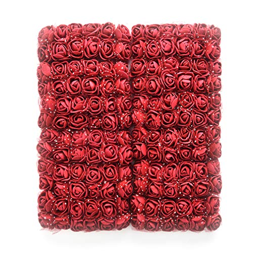 Mini Foam Rose Artificial Flowers Fake flower heads bulk wholesale for crafts For Home Wedding Car Decoration DIY Pompom Wreath Decorative Bridal Flower party Birthday Home Decor 144pcs 2cm (burgundy) -