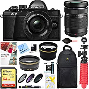 Olympus OM-D E-M10 Mark II Mirrorless Digital Camera with 14-42mm EZ & 40-150mm R Zoom Lens Deluxe Accessory Bundle