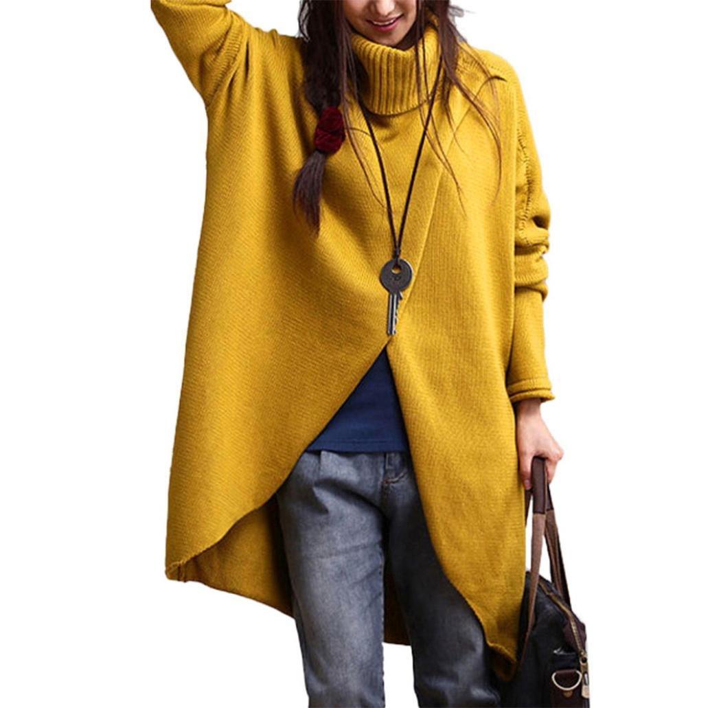 AMA(TM) Women's Fashion Turtleneck Sweater Pullover Tops Loose Jumper Knitwear Outwear (XL, Yellow)