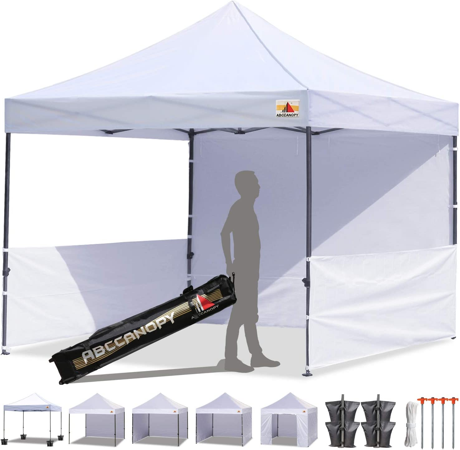 ABCCANOPY 10×10 Rhino-Series Easy Pop Up Canopy Tent Commercial Grade with Matching Sidewalls and Roller Bag Bonus 2pcs Half Wall White