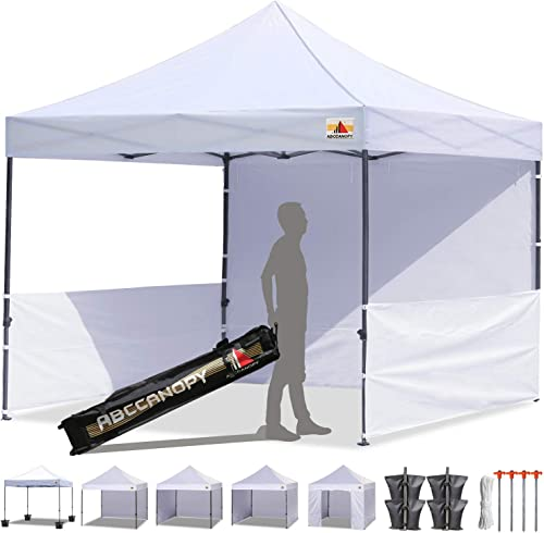ABCCANOPY 10×10 Pop-up Canopy Easy Pop Up Canopy Tent 10×10 Commercial Tents with Sidewalls Bouns Roller Bag Bonus 2pcs Half Wall White