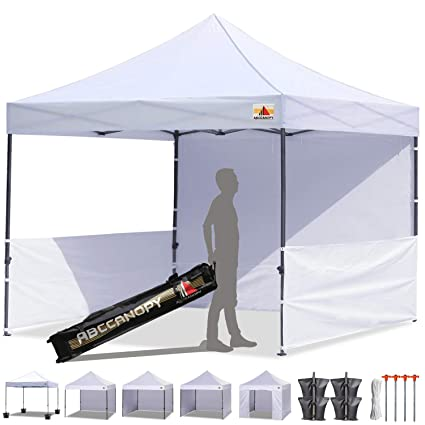 on sale f56da 3a278 ABCCANOPY 10x10 Rhino-Series Easy Pop Up Canopy Tent Commercial Grade with  Matching Sidewalls and Roller Bag Bonus 2pcs Half Wall (White)