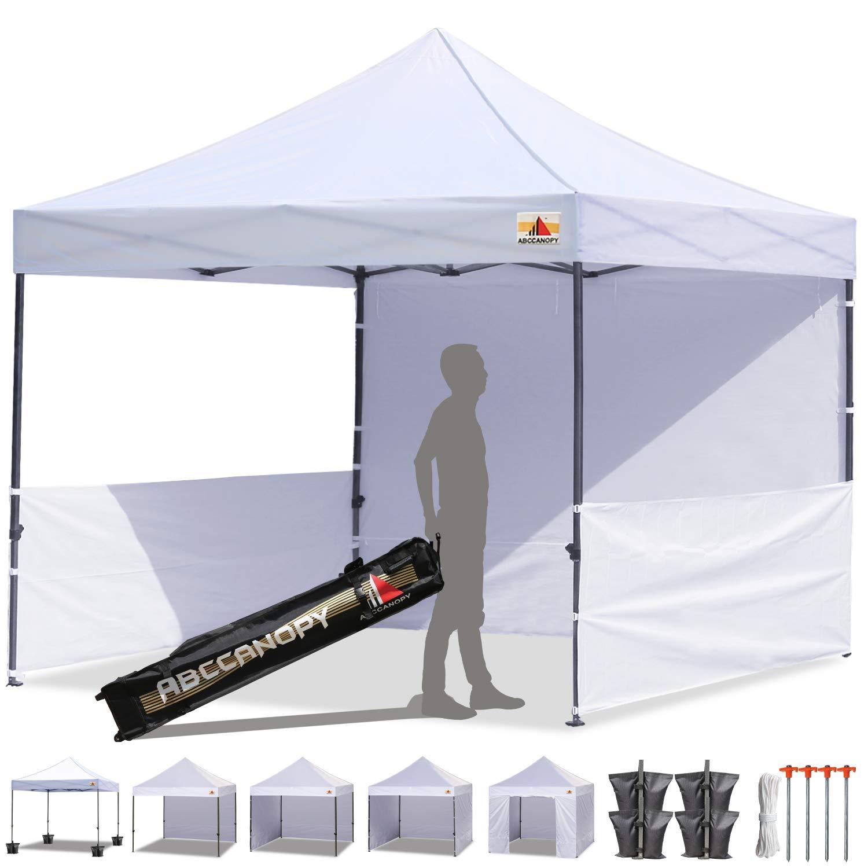 ABCCANOPY 10'x10' Pop-up Canopy Tent Commercial Instant Tent with 4 Removable Zipper End Side Walls and Roller Bag, Bonus 4 SandBags & 2 Half Walls