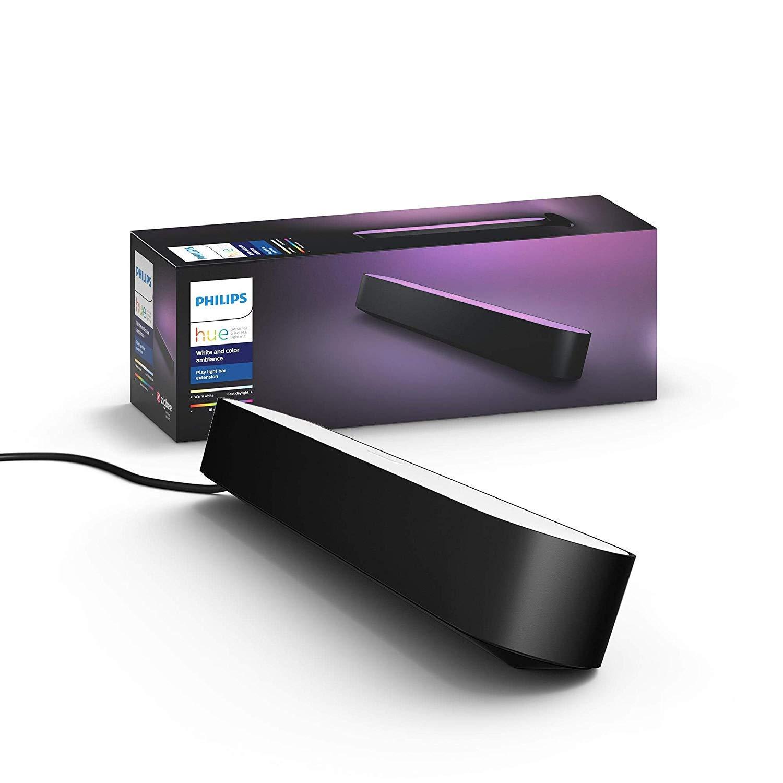 Philips Hue Play Barra de luz regulable compatible con Amazon Alexa, Apple HomeKit y Google Home, luz blanca y de colores, requiere conexión a puente Hue, negra, Extensión