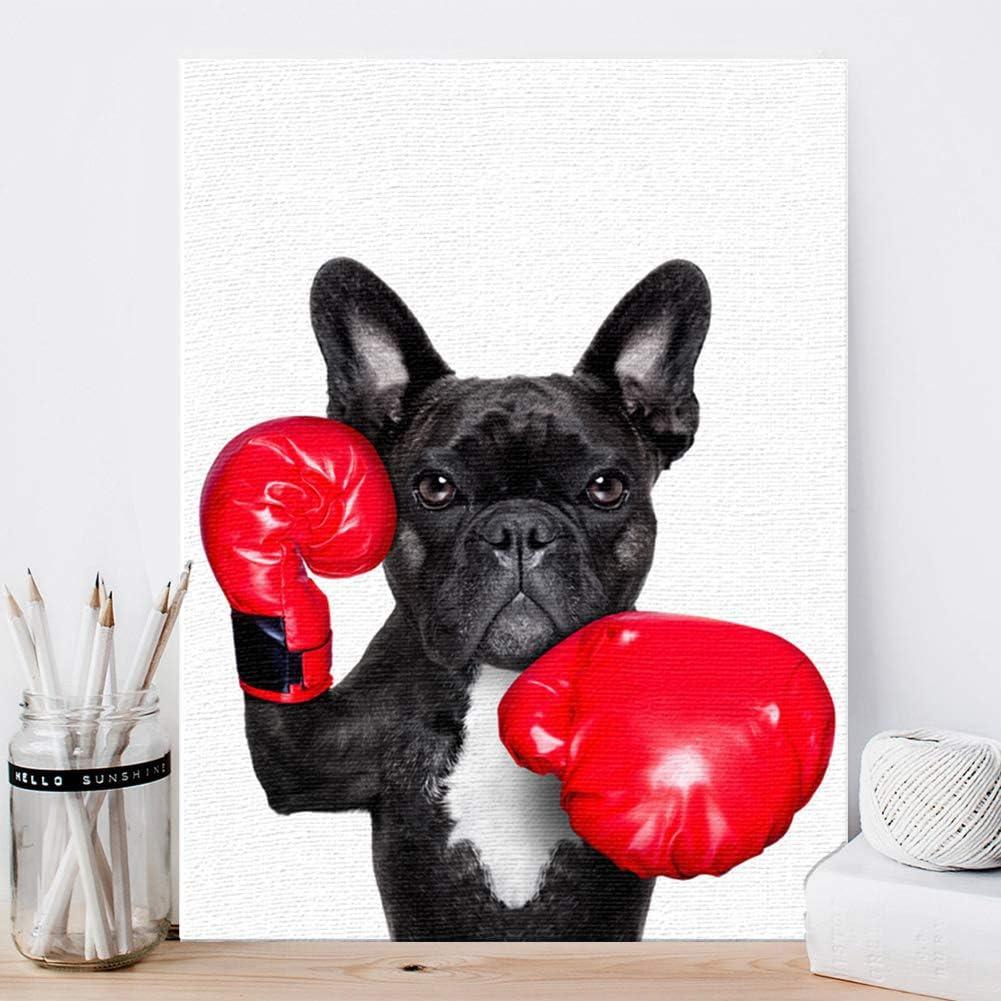 KINYNE Perros De Mascotas Pintura Negro Brindle Bulldog Francés Perro Cuadro sobre Lienzo Obra De Arte Original Moderno Salón Dormitorio Decoración De Pared,A,50X60cm