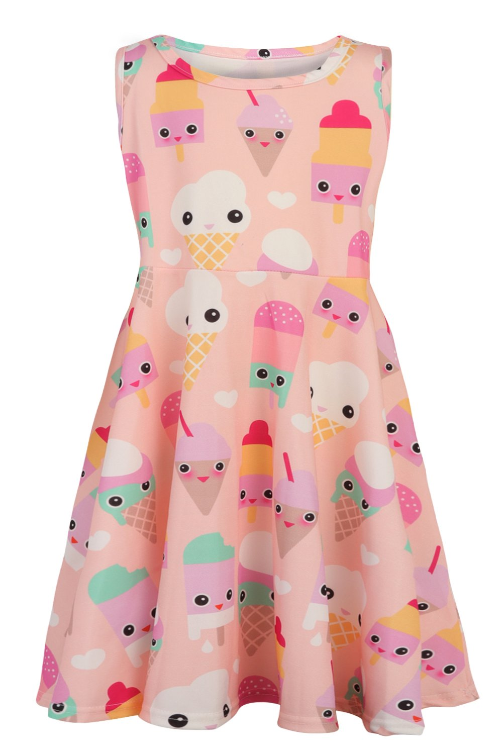 Girl Sundresses Kid Polyester Applique ice Lolly Dress Clothes Slim Fit Crewneck Dress Popsicle Print 6 yrs Years Old (Ice Cream, M)