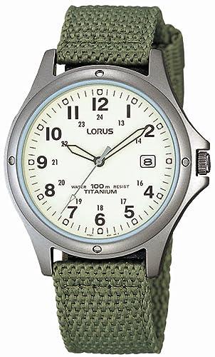 e5dc95ae0bf9 Lorus RXD425L8 - Reloj analógico de caballero de cuarzo con correa textil  verde - sumergible a 100 metros  Babar  Amazon.es  Relojes
