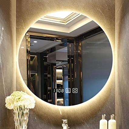 Bathroom mirror_frameless Round Wall Mirror With Led Lights