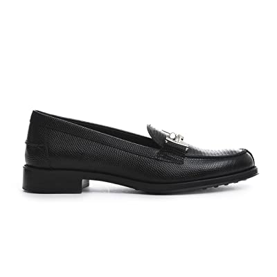 Tod's Women's XXW0RU0Q960JINB999O Black Leather Loafers