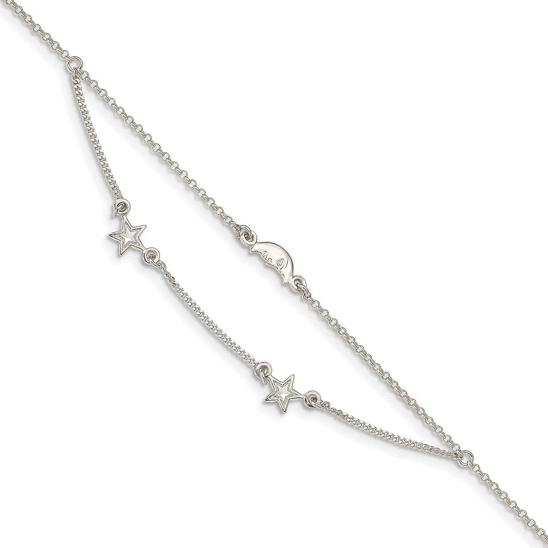925 Sterling Silver 2-Strand Moon /& Stars Curb Link Ankle Bracelet Anklet 9 w//1 Extender