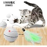 インタラクティブな猫のおもちゃ、自動自己回転ペット玩具、ペット犬の犬のチェイサーのボール、猫と犬のための取り外し可能な羽のエンターテイメントの運動玩具 (ホワイト)