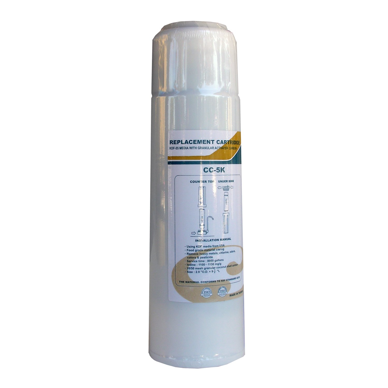 2 5//8-Inch OD x 9 7//8-Inch LASCO 37-1870P Water Filter Replacement Cartridge with 20 x 50 Acid Washed Carbon Cartridge