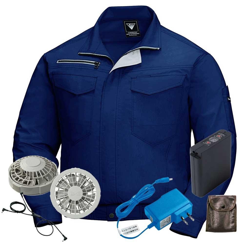 ジーベック 空調服 長袖ブルゾンファンバッテリーセット XE98001ファンのカラー:グレー B07BK15DD4 4L|19ディープネイビー 19ディープネイビー 4L