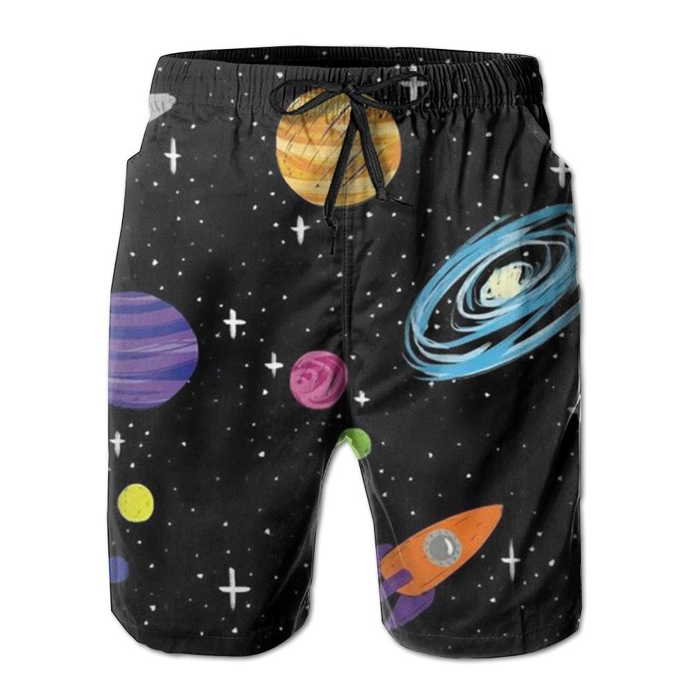 JDHFAF Universe Planet Mens Beach Board Shorts Quick Dry Summer Casual Swimming Soft Fabric with Pocket