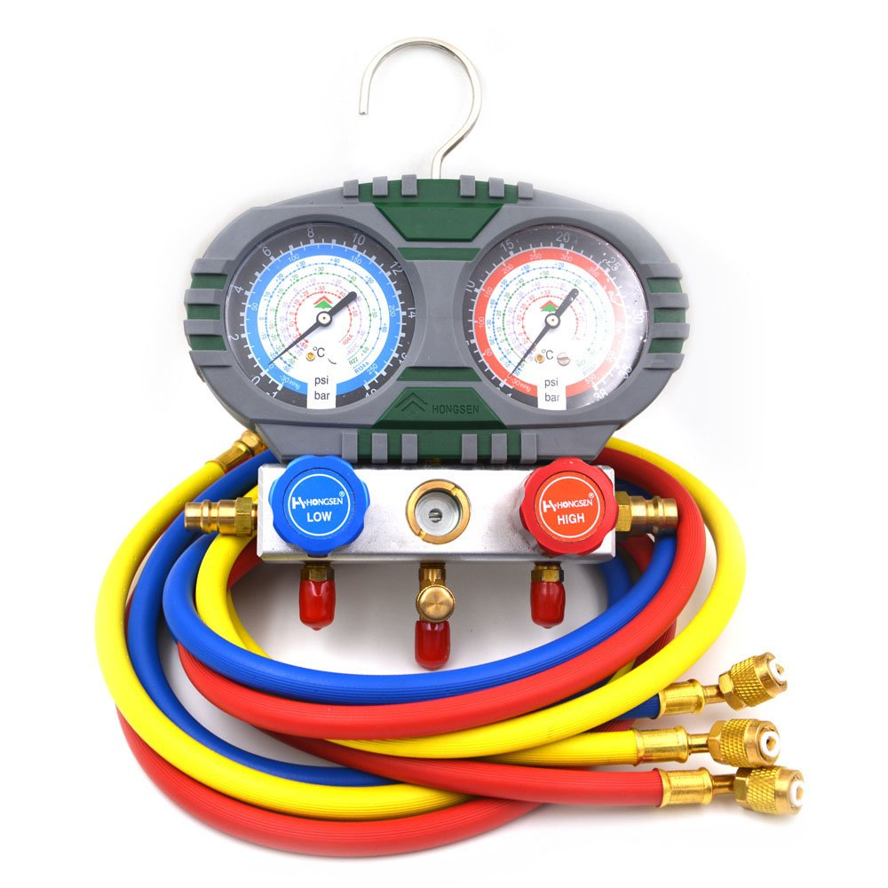 Nikauto 1Set R22 R134a R404A R407c Car Air Conditioning Manifold Gauge Set With Hose