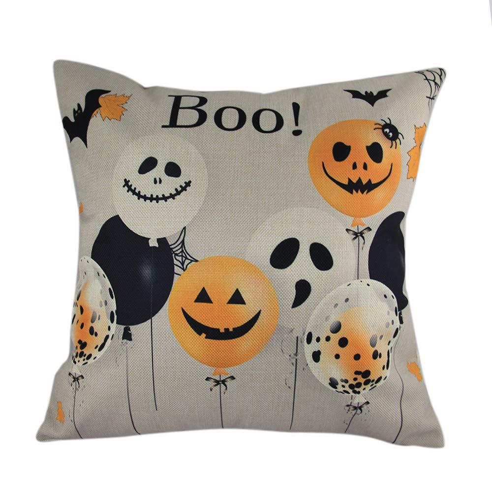 Hongxin Halloween Pillow Cases,Cotton Linen Balloon Ghosts Pattern Sofa Cushion Cover Home Decor (D, 45cm×45cm)
