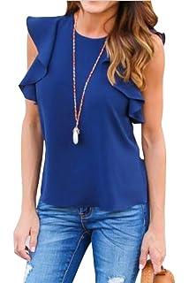 58357fd6 ARTFFEL-Women Summer Ruffle Sleeveless Chiffon Slim Cami Top Tee Shirt  Blouse