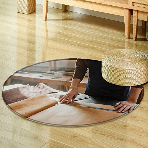 Round Area Rug CarpetClose up Male Hand Master Tanner in an Apron for The Work with The Skin Small bLiving Dining Room Bedroom Hallway Office Carpet-Round 47