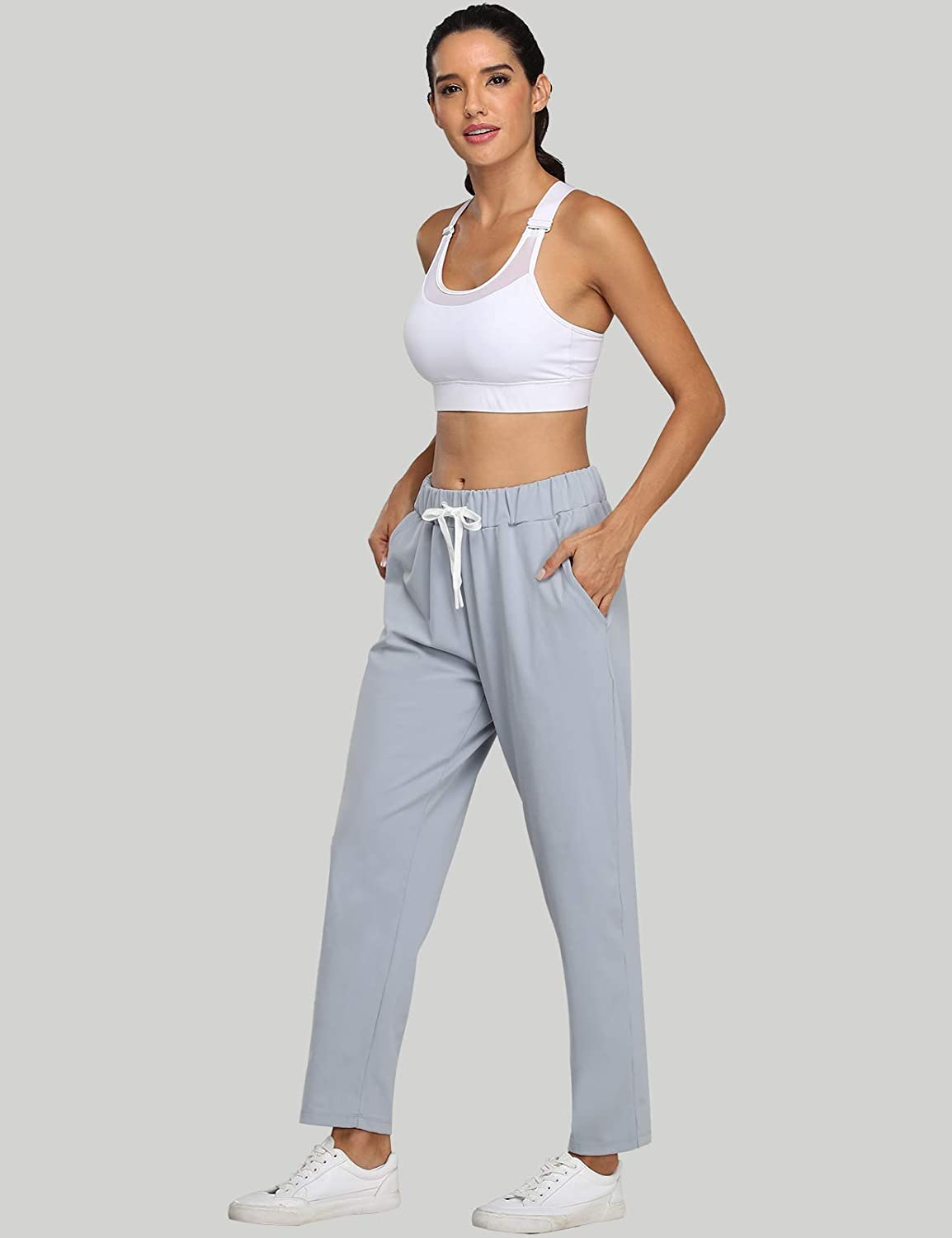 ZUTY Womens Stretch 7//8 Casual Pants with Pockets Loose Fit Drawstring Sweatpants Workout Joggers Travel Ankle Track Pants