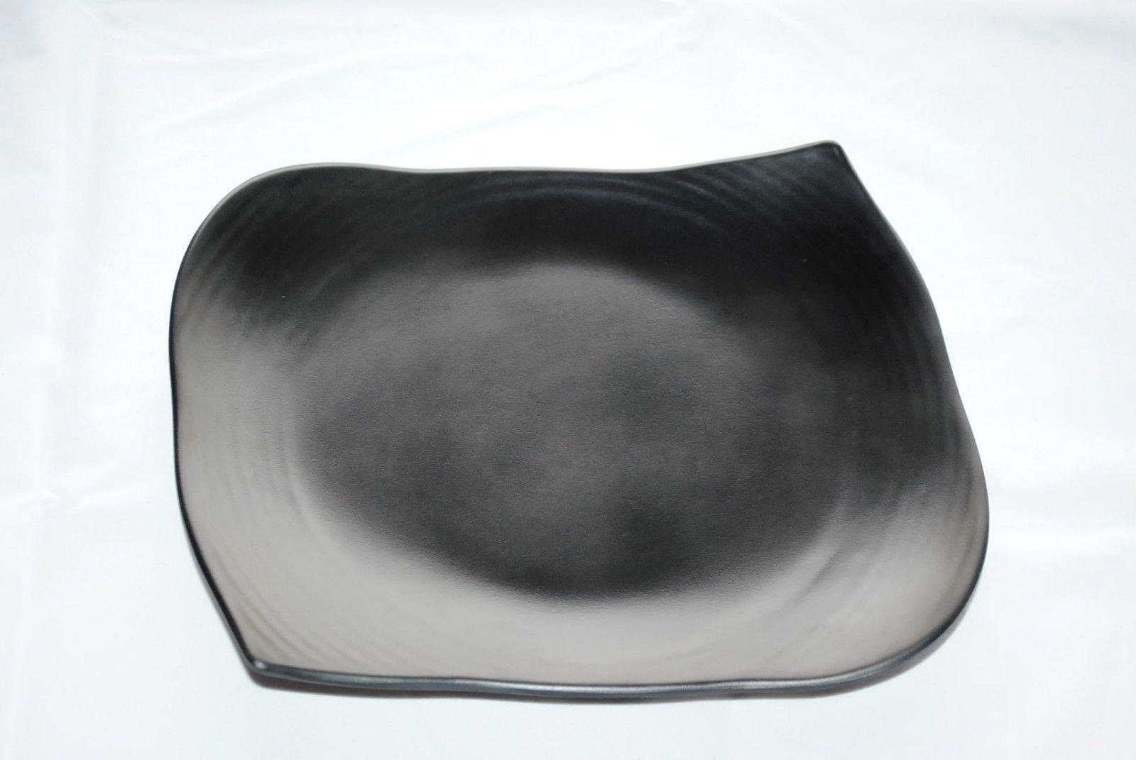 Lucky Star Rectangular Melamine Plates Sushi Sashimi Tonkatsu Tempura Appetizer Platter Dishes, 9'' X 7'', 10-1/2'' X 8-1/4'', 12'' X 9-3/8'', Black (40, 10-1/2'' X 8-1/4'')