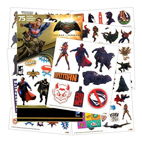 DC Comics Dawn of Justice Batman v Superman 75 Temporary Tattoos