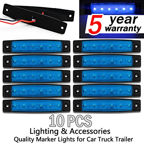 10x 6 LED Clearence Truck Bus Trailer Side Marker Indicators Light Tail Taillight Brake Stop Lamp 12V (Blue)