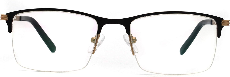 men rectangle lens half rimless spectacles non-prescription decent metal eyewear