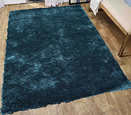 LA Rug Linens Solid Shag Collection Deep Green Teal 5 x 7 Area Rug 5′ x 7′ (Aroma Teal) Review