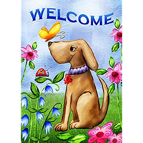 toland home garden welcome dog 125 x 18 inch decorative cute puppy spring summer double sided garden flag - Small Garden Flags
