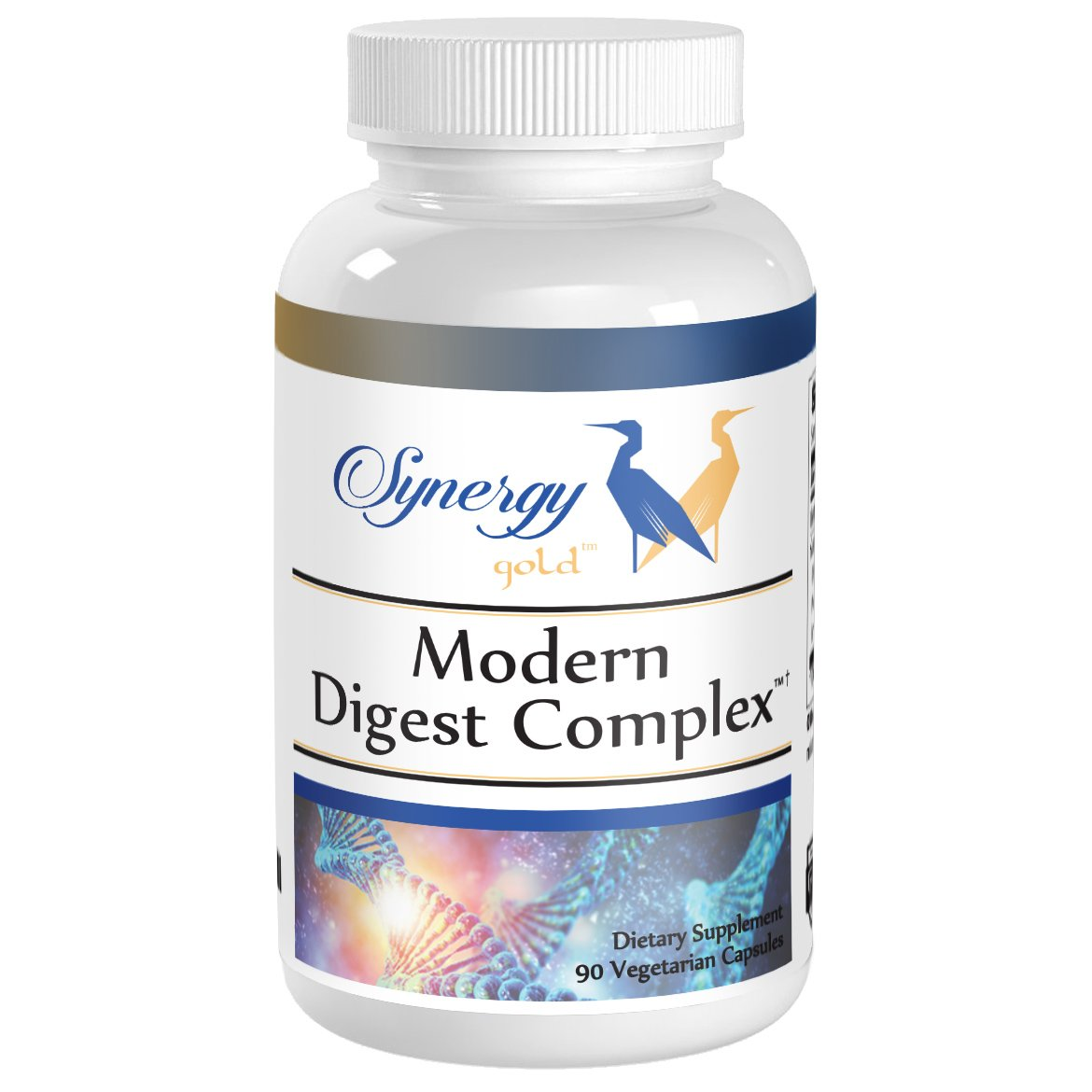 Modern Digestive Enzyme Supplement for Better Breakdown & Absorption of Hard to Digest Foods, Support for Gluten, Fats, Relief for IBS, Leaky Gut, Common Complaints, 1 Mo Supply, 90 Count by Synergy Gold