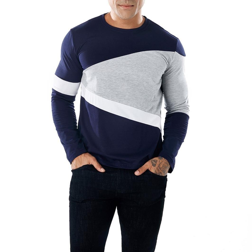 Realdo Long Sleeve T-Shirt for Men, Fashion Casual Slim Splice Color Crewneck Muscle Shirt Top