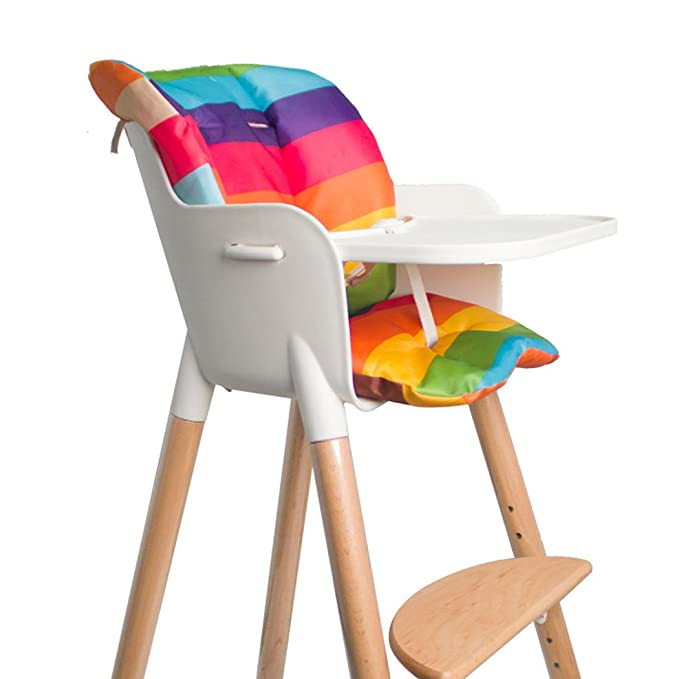 Yellow Rainbow Myukbest Baby High Chair Cushion Baby Dining Chair Liner Mat Thick Pad for Wooden High Chair
