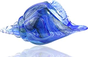 QF Crystal Conch Handmade Glass Sea Shell,Hand Blown Artwork,Murano Style Figurine,Blue and Clear