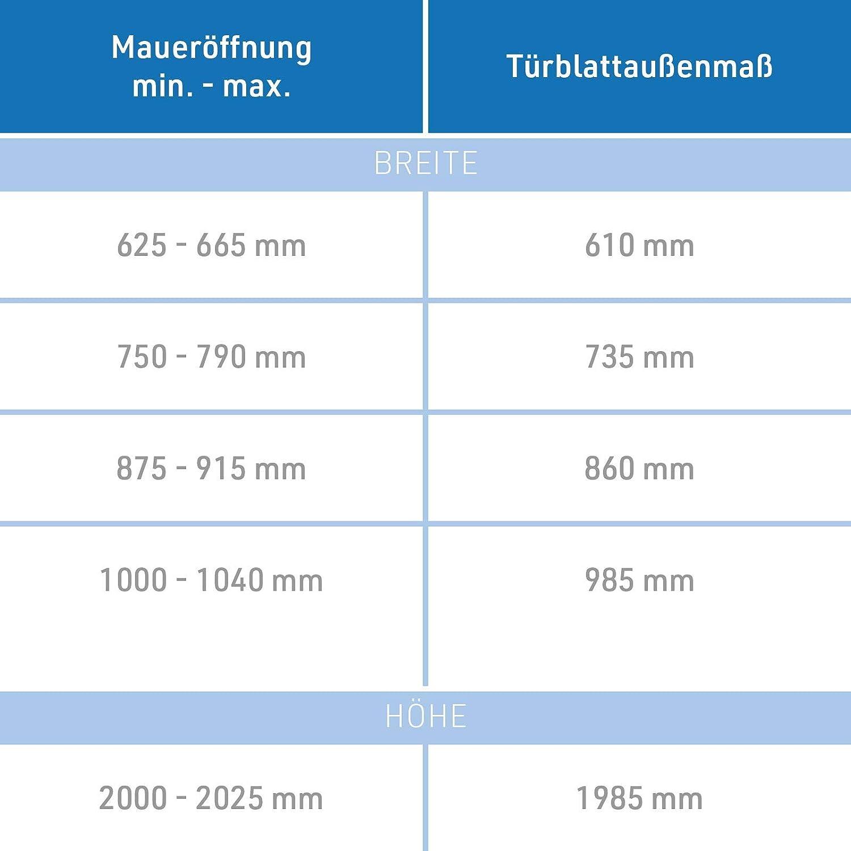Breite und Wandst/ärke w/ählbar I DIN Links I 1985 x 860 x 140 mm HORI/® Zimmert/ür Komplettset mit Zarge und T/ürdr/ücker I Innent/ür wei/ß lackiert I H/öhe 198,5 cm I Anschlag