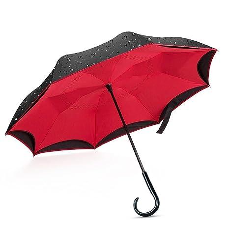 giwox Auto Reverse paragüero, UPF40 + mango ABS resistente al viento paraguas, doble capa