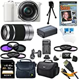 Sony a5100 ILCE5100L/W ILCE5100L ILCE5100 ILCE5100lw 16-50mm Interchangeable Lens Camera with 3-Inch Flip Up LCD (White) Bundle with SEL 55-210 Zoom Lens (Silver), Sony 32GB Class 10 SD card, Spare Battery, Rapid AC/DC Charger, Micro HDMI Cable+ More