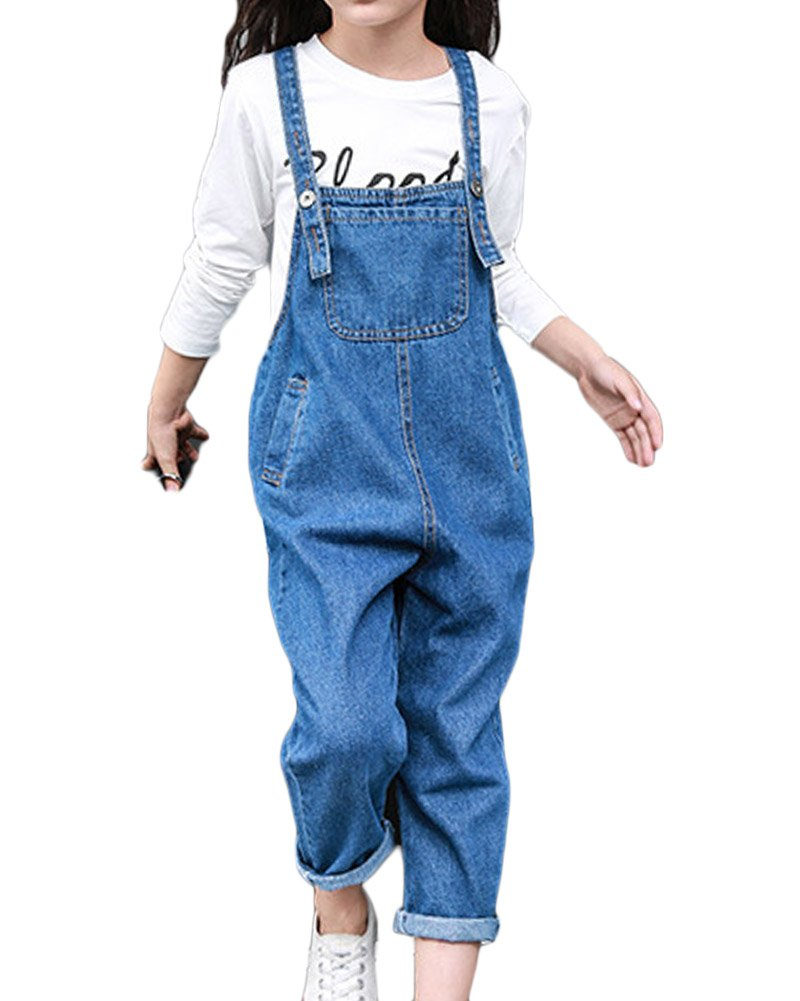 GladiolusA Kids Girls Denim Dungarees Playsuit Jumpsuit Pinafore Long Jeans Bib Overalls All in One