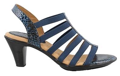 Women's Soft Spots, Naples Mid Heel Sandals Navy ...