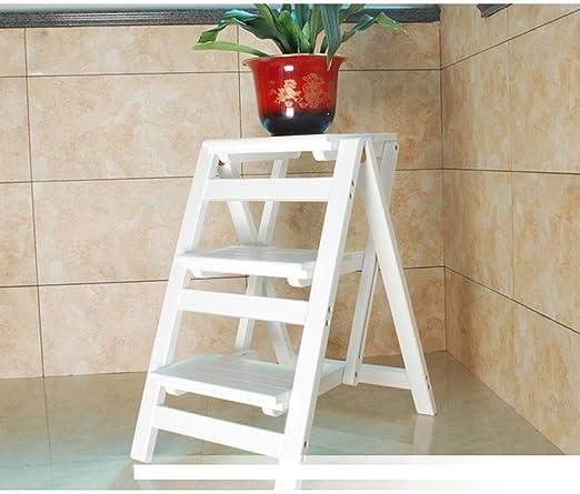 XHCfold - Escalera de 3 peldaños, Taburete de Cocina Plegable y portátil, Antideslizante, para Caravana, casa, jardín, Herramienta de Bricolaje, Color Nogal (Color Blanco): Amazon.es: Hogar