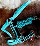 Horse Nylon HALTER Lead Rope Noseband Turquoise Teal Bling Tack Large 606122