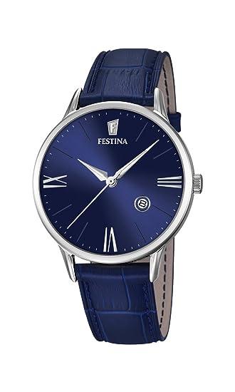 Festina F16824/3 - Reloj de Pulsera Hombre, Cuero, Color Azul: Amazon.es: Relojes